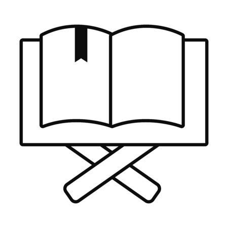 Eid mubarak open quran book line style icon design, Islamic religion culture and belief theme Vector illustration