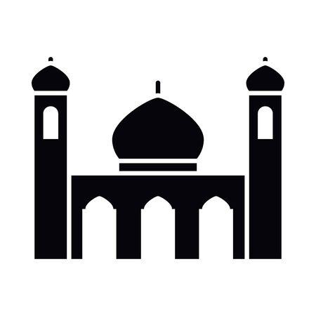 Eid mubarak mosque silhouette style icon design, Islamic religion culture and belief theme  illustration Vectores
