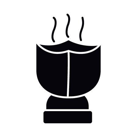 Eid mubarak lantern silhouette style icon design, Islamic religion culture and belief theme Vector illustration