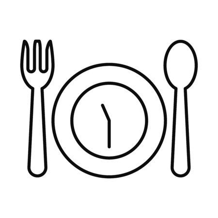Eid mubarak fasting line style icon design, Islamic religion culture and belief theme Vector illustration