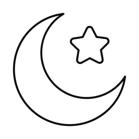 Eid mubarak moon with star line style icon design, Islamic religion culture and belief theme Vector illustration