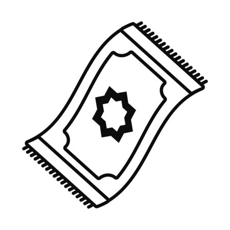 Eid mubarak carpet line style icon design, Islamic religion culture and belief theme Vector illustration