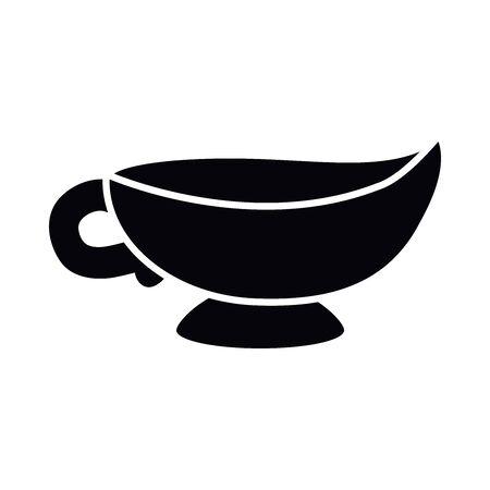 Eid mubarak teapot silhouette style icon design, Islamic religion culture and belief theme Vector illustration Vectores