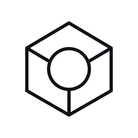 geometric and abstract 3d cube line style icon design, shape and figure theme illustration