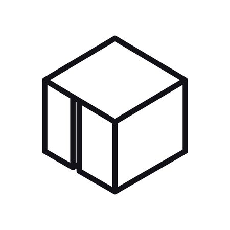 geometric and abstract 3d cube line style icon design, shape and figure theme Vector illustration