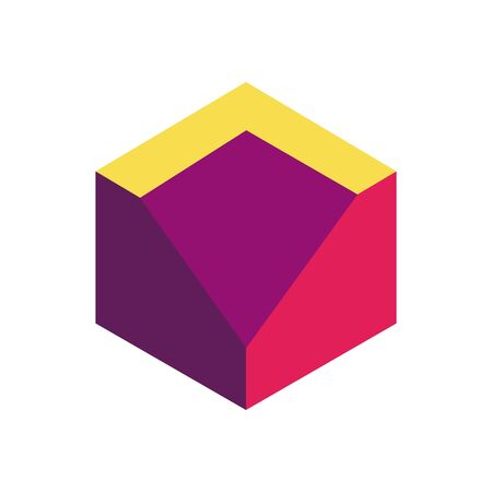 geometric and abstract 3d cube flat style icon design, and figure theme Vector illustration