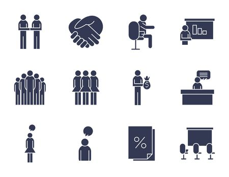 People flat style icon set design of Person profile social communication and human theme illustration