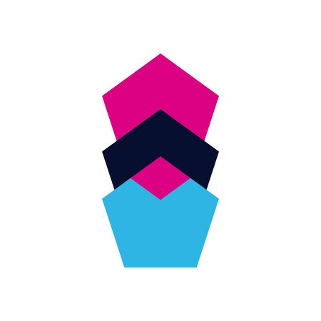 geometric and abstract pentagons flat style icon design, shape and figure theme illustration