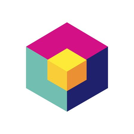 geometric and abstract 3d cube flat style icon design, shape and figure theme Vector illustration 일러스트