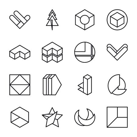geometric and abstract 3d shapes line style icon set design, figure theme Vector illustration