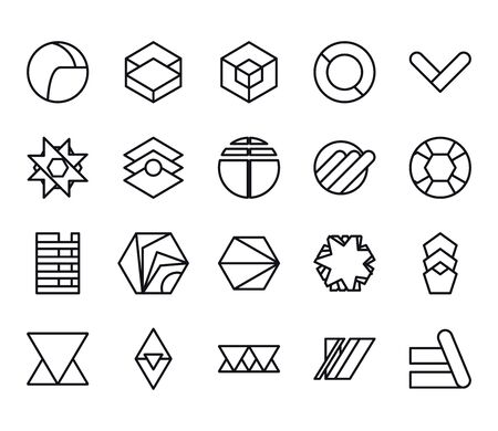 geometric and abstract 3d shapes line style icon set design, figure theme illustration