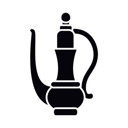 Eid mubarak teapot silhouette style icon design, Islamic religion culture and belief theme illustration Vectores