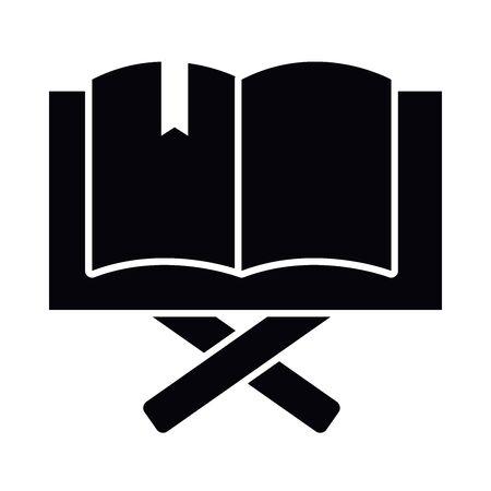 Eid mubarak open quran book silhouette style icon design, Islamic religion culture and belief theme illustration Vectores