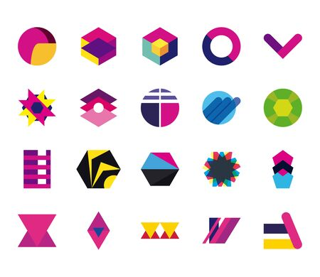 geometric and abstract 3d shapes flat style icon set design, and figure theme  illustration Vettoriali