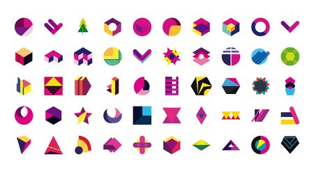 geometric and abstract 3d shapes flat style icon set design, and figure theme illustration