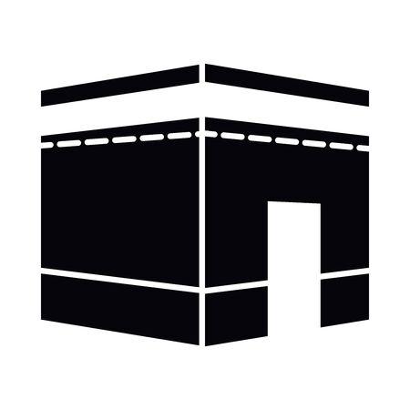 Eid mubarak kaaba silhouette style icon design, Islamic religion culture and belief theme Vector illustration