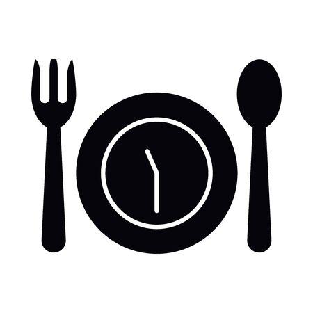 Eid mubarak fasting silhouette style icon design, Islamic religion culture and belief theme  illustration