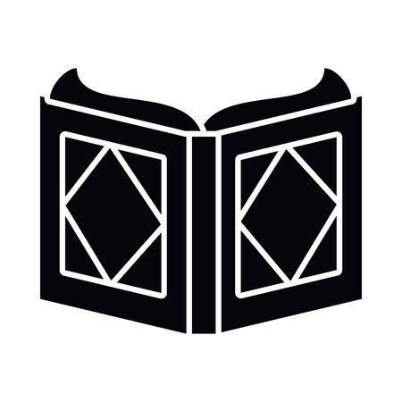 Eid mubarak open quran book silhouette style icon design, Islamic religion culture and belief theme Vector illustration