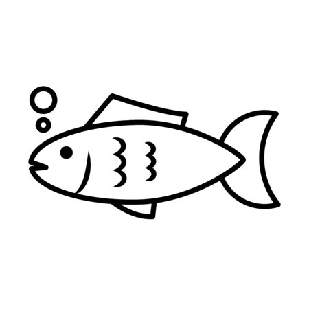 Fish animal line style icon design Sea life ecosystem fauna and ocean theme Vector illustration