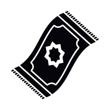 Eid mubarak carpet silhouette style icon design, Islamic religion culture and belief theme Vector illustration Vectores