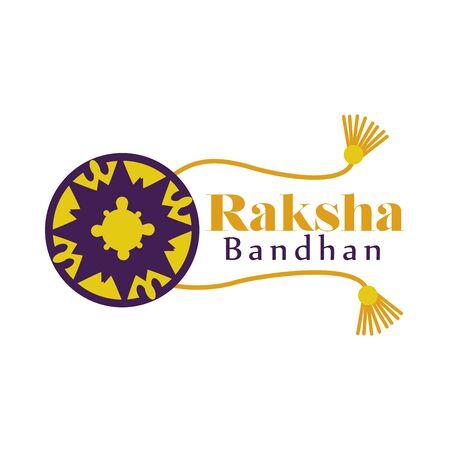 Raksha bandhan purple and yellow flower wristband design, Indian holiday celebration and culture theme Vector illustration
