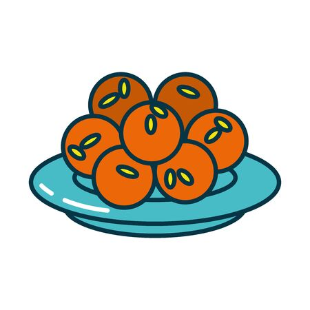 Indian laddu balls on plate line and fill style icon design, India culture travel and asia theme Vector illustration