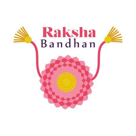 Raksha bandhan pink flower wristband design, Indian holiday celebration and culture theme Vector illustration