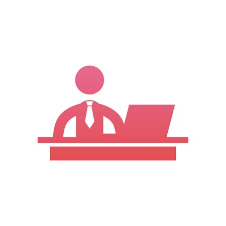 Businessman with laptop gradient style icon design, Office business management and corporate theme Vector illustration