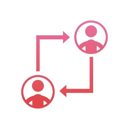 Avatars meeting gradient style icon design, Coworking teamwork and strategy theme Vector illustration Illusztráció
