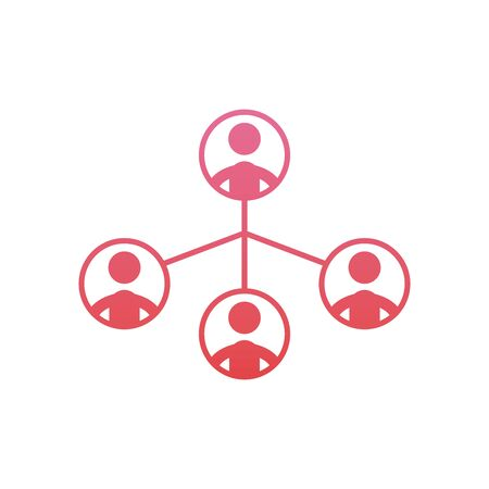 Avatars meeting map gradient style icon design, Coworking teamwork and strategy theme Vector illustration