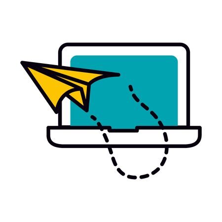 laptop computer with paper plane icon over white background, half line half color style, vector illustration