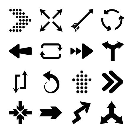 bent arrows and arrows icon set over white background, silhouette style, illustration