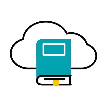 cloud storage and academic book icon over white background, half line half color style, vector illustration