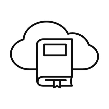 cloud storage and academic book icon over white background, line style, illustration 일러스트
