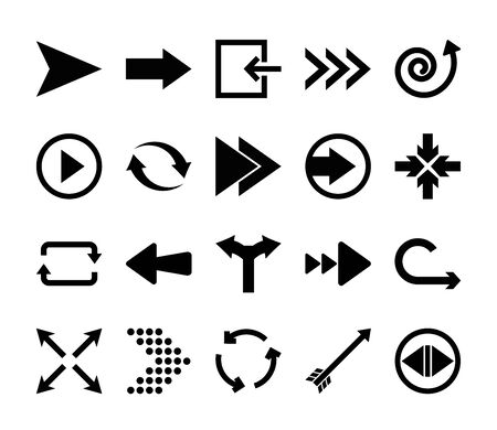 four arrows pointing and arrows symbols icon set over white background, silhouette style, illustration
