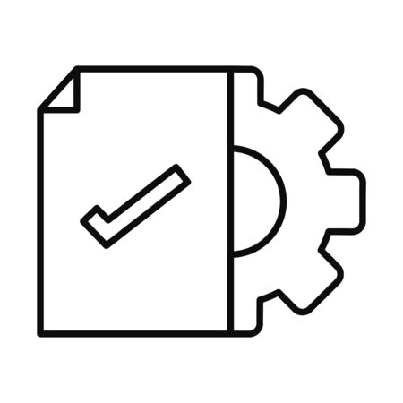 document with check mark and gear wheel icon over white background, line style, vector illustration