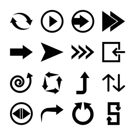 right arrow and arrows symbols icon set over white background, silhouette style, illustration