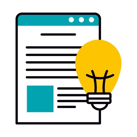web page window and bulb light icon over white background, half line half color style, vector illustration