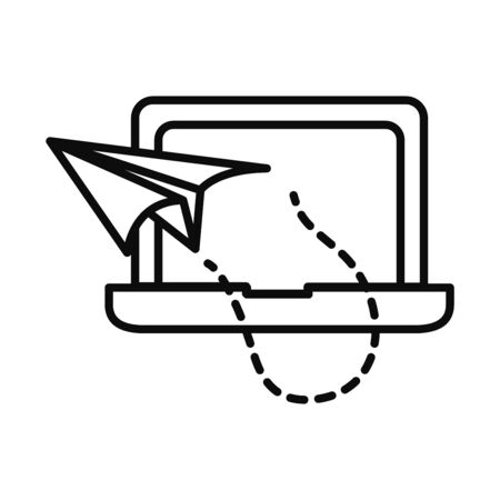 laptop computer with paper plane icon over white background, line style, illustration
