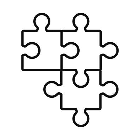 jigsaw puzzles icon over white background, line style, vector illustration