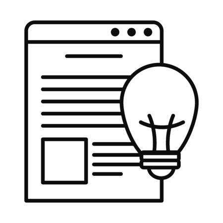 web page window and bulb light icon over white background, line style, vector illustration