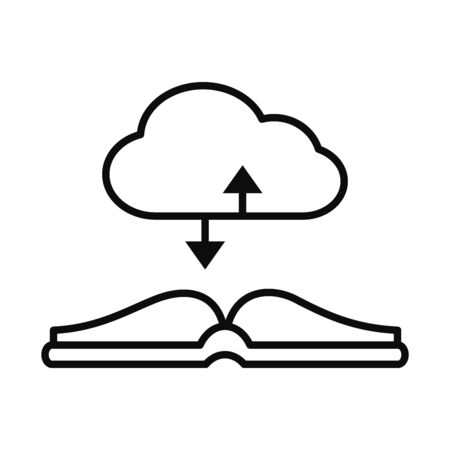 cloud storage and academic book icon over white background, line style, vector illustration