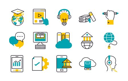 global sphere and online education icon set over white background, half line half color style, illustration