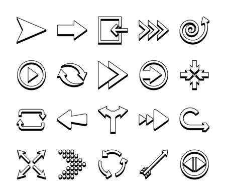 four arrows pointing and arrows symbols icon set over white background, line style, vector illustration Illustration