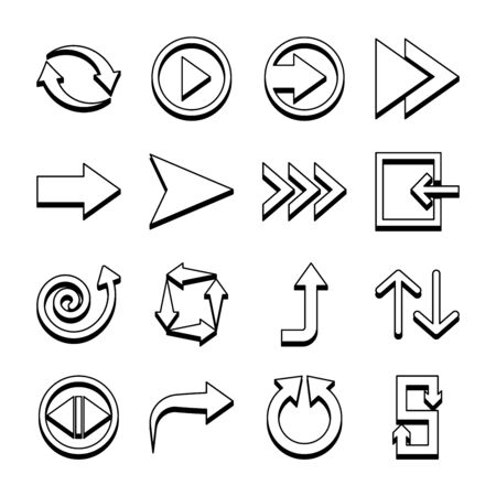 right arrow and arrows symbols icon set over white background, line style, vector illustration Illustration