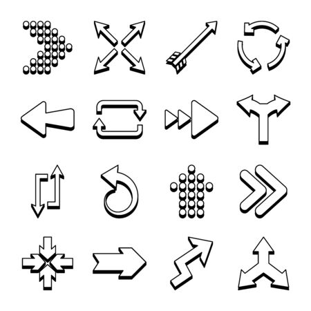 bent arrow and arrows icon set over white background, line style, vector illustration