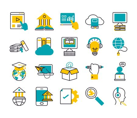 cloud storage and online education icon set over white background, half line half color style, illustration
