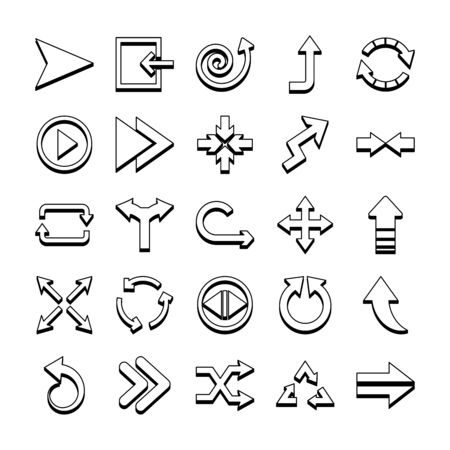 spiral arrow and arrows icon set over white background, line style, illustration