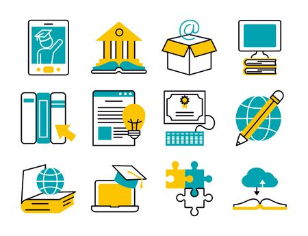 computers and education online icon set over white background, half line half color style, vector illustration