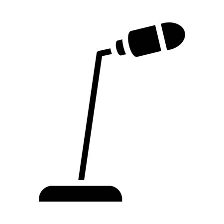 desk microphone icon over white background, silhouette style, vector illustration
